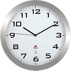 Alba Wanduhr Horissimo Funk 380 mm Silber, Weiß HORISSIMORC M