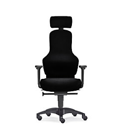 Sitwell Bürostuhl Ortholetic Balance L mit Kopfstütze und Armlehnen Schwarz Stoff 130 kg SY-13.230-L-94-109-30-44-10