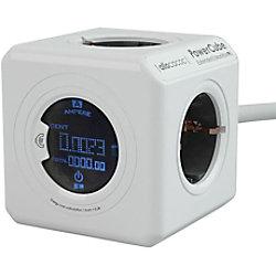 Allocacoc 8910 / DEEXMO PowerCube Steckdosenwürfel mit Energieverbrauchsmonitor 4 Steckdosen 1,5 m Weiß, Grau 8910/DEEXMO