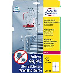 AVERY Zweckform L8013-10 Antimikrobielle Etiketten 210 x 297 mm Weiß 10 Blatt à 4 Etikett