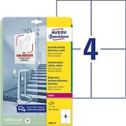 AVERY Zweckform L8003-10 Antimikrobielle Etiketten 210 x 297 mm Weiß 10 Blatt à 4 Etiketten