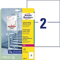 AVERY Zweckform L8002-10 Antimikrobielle Etiketten 210 x 297 mm Weiß 10 Blatt à 2 Etiketten