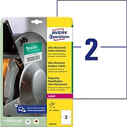 AVERY Zweckform Folien-Etiketten L7916-10 Weiß DIN A4 148 x 210 mm 10 Blatt à 2 Etiketten