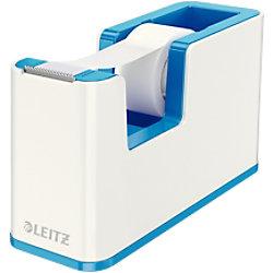 Leitz WOW Klebeband-Tischabroller Duo Colour + Beschriftbares selbstklebendes Klebeband 19mm x 33m Weiß, Blau 53641036