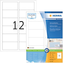 HERMA Adressetiketten 4666 Weiß DIN A4 88,9 x 46,6 mm 100 Blatt à 12 Etiketten