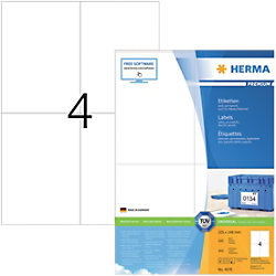 HERMA Adressetiketten 4676 Weiß DIN A4 105 x 148 mm 100 Blatt à 4 Etiketten