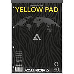 AURORA A4 Oben gebunden Grau Papiercover Notepad Yellow Sheets Ruled 80 Sheets 2984ST