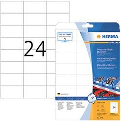 HERMA Strapazierfähige Etiketten 4695 Weiß DIN A4 70 x 37 mm 25 Blatt à 24 Etiketten