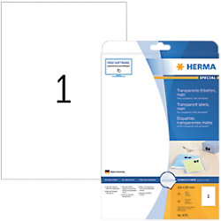 HERMA Folienetiketten Etiketten 4375 Transparent DIN A4 210 x 297 mm 25 Blatt à 1 Etikett