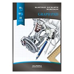 AURORA A3 Schwarzer Papiereinband Graphikblock kariert Milimeter 50 Blatt MID101