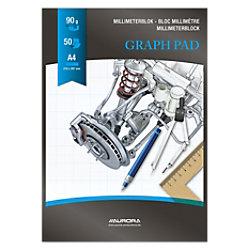 AURORA A4 Schwarzer Papiereinband Graphikblock kariert Milimeter 50 Blatt MID51