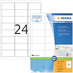 HERMA Adressetiketten 4645 Weiß DIN A4 63,5 x 33,9 mm 100 Blatt à 24 Etiketten