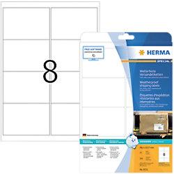 HERMA Strapazierfähige Etiketten 8331 Weiß DIN A4 99,1 x 67,7 mm 25 Blatt à 8 Etiketten