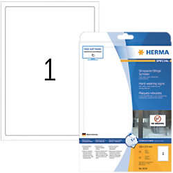 HERMA Strapazierfähige Schilder 8334 Weiß DIN A4 190 x 275 mm 25 Blatt à 1 Etiketten