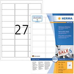 HERMA Wiederablösbare Etiketten 10300 Weiß DIN A4 63,5 x 29,6 mm 100 Blatt à 27 Etiketten
