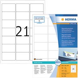HERMA Wiederablösbare Etiketten 10301 Weiß DIN A4 63,5 x 38,1 mm 100 Blatt à 21 Etiketten
