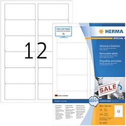 HERMA Wiederablösbare Etiketten 10304 Weiß DIN A4 88,9 x 46,6 mm 100 Blatt à 12 Etiketten