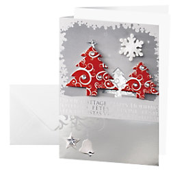 Sigel Handgemachte Weihnachtskarte Drei Bäume A6 250 g/m² Rot, Weiß 10 Stück DS454