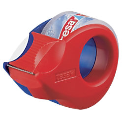tesafilm Handabroller Mini Rot, Blau 1,9 cm mit Klebefilm Kristall- Klar 57858-00000-00