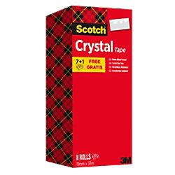 Scotch Crystal Klebeband 19 mm x 33 m Transparent Kristallklar Vorteilspack 7 Rollen + 1 GRATIS FT510282377