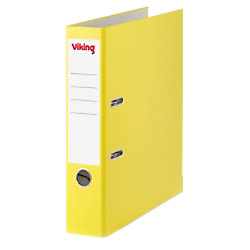 Viking Ordner 75 mm Glatt PP Cover, Papier innen Etikettensticker 58 x 190 mm 2 Ringe A4 Gelb 3621960