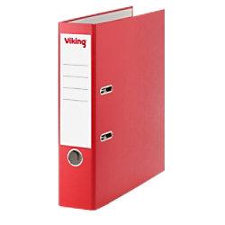 Viking Ordner 75 mm Glatt PP Cover, Papier innen Etikettensticker 58 x 190 mm 2 Ringe A4 Rot 4137741