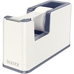 Leitz WOW Klebeband-Tischabroller Duo Colour + Beschriftbares selbstklebendes Klebeband 19mm x 33m Weiß, Grau 53641001