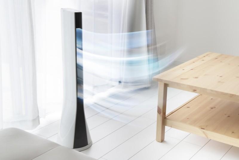 Turmventilator mit Luftstrom im Raum