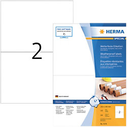 HERMA Wetterfeste Etiketten 4378 Weiß DIN A4 210 x 148 mm 100 Blatt à 2 Etiketten