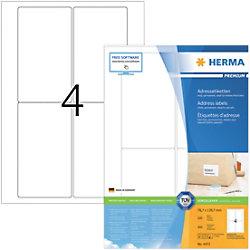 HERMA Adressetiketten 4472 Weiß DIN A4 78,7 x 139,7 mm 100 Blatt à 4 Etiketten