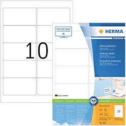HERMA Adressetiketten 4667 Weiß DIN A4 96 x 50,8 mm 100 Blatt à 10 Etiketten