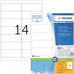 HERMA Adressetiketten 4678 Weiß DIN A4 99,1 x 38,1 mm 100 Blatt à 14 Etiketten