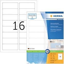 HERMA Adressetiketten 4479 Weiß DIN A4 88,9 x 33,8 mm 100 Blatt à 16 Etiketten