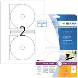 HERMA CD-Etiketten 5115 Weiß DIN A4 116 x 116 mm 25 Blatt à 2 Etiketten