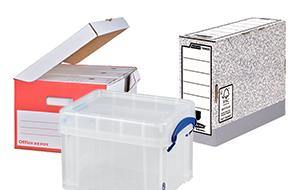 Fournitures de bureau - Boites à archives et boîtes de rangement en plastique