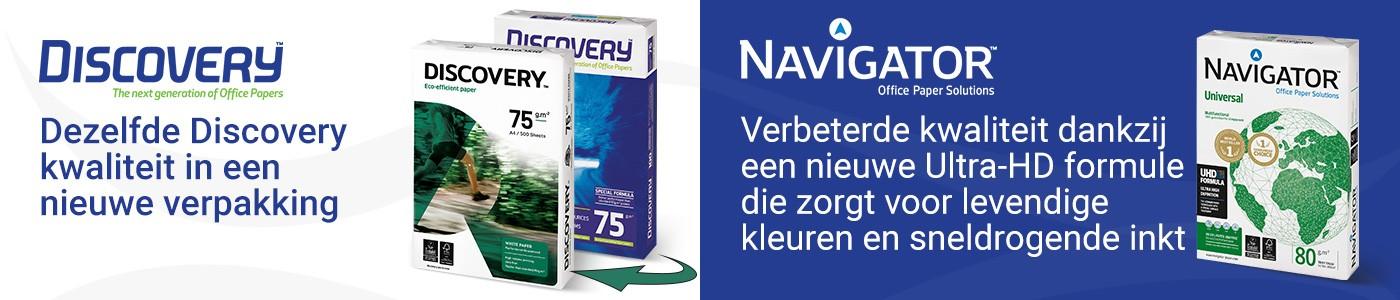 Dezelfde Discovery kwaliteit in een nieuwe verpakking - Navigator Verbeterde kwaliteit dankzij een nieuwe Ultra-HD formule die zorgt voor levendige kleuren en sneldrogende inkt