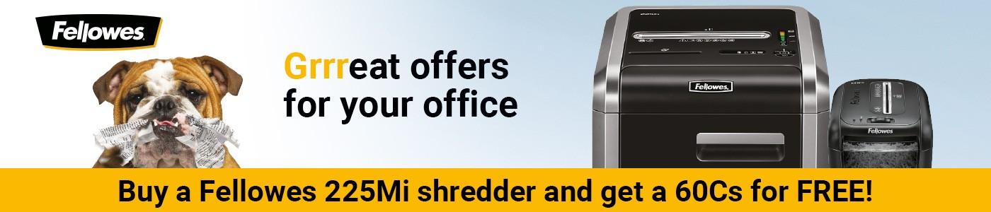 Free deskside shredder when you purchase a Fellowes 225MI Shreddder