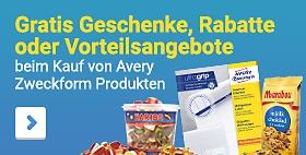 Gratis Geschenke, Rabatte oder Vorteilsangebotesichern beim Kauf von Etiketten und vielen weiteren Avery Zweckform Produkten
