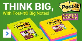 At least 40% bigger. Lined Notes	THINK BIG, with Post-it® Big Notes	2x the sticking power