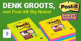 Minstens 40% groter. Gelinieerde notesDENK GROOTS, met Post-it® Big Notes2x sterker klevend