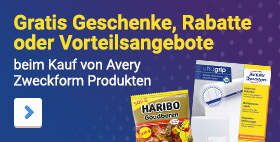 Gratis Geschenke, Rabatte oder Vorteilsangebote sichern beim Kauf von Etiketten und vielen weiteren Avery Zweckform Produkten