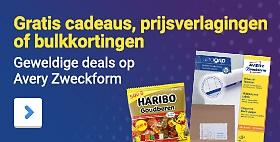 Gratis cadeaus, prijsverlagingen of bulkkortingen. Geweldige deals op etiketten en meer Avery Zweckform producten