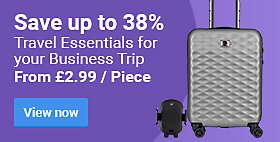 Save up to 38%	Travel Essentials for your Business Trip. From £2.99 / Piece